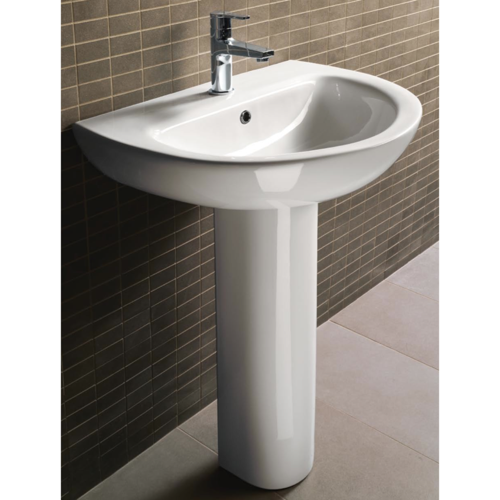 Bathroom Sink, GSI MCITY3012, Round White Ceramic Pedestal Bathroom Sink MCITY3012
