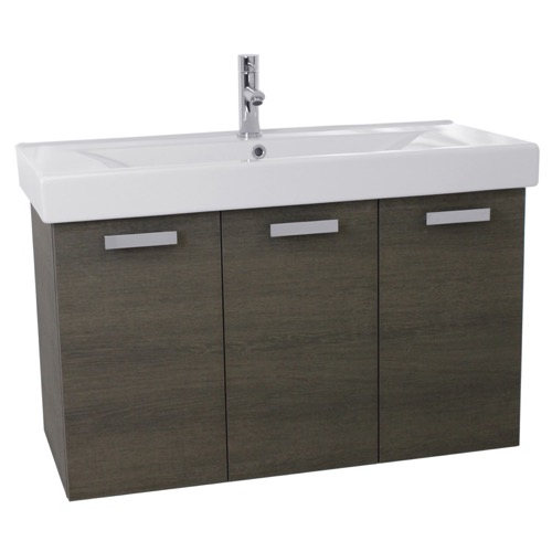 39 Inch Grey Oak Wall Mount Bathroom Vanity with Fitted Ceramic Sink