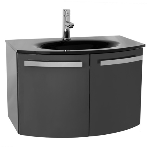 28 Inch Glossy Anthracite Bathroom Vanity with Black Glass Top