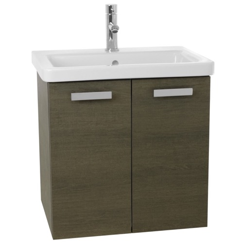 24 Inch Grey Oak Wall Mount Vanity with Fitted Ceramic Sink