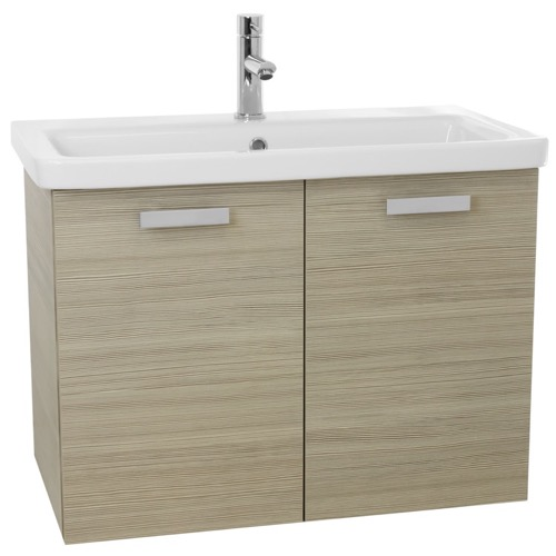 32 Inch Larch Canapa Wall Mount Vanity with Fitted Ceramic Sink