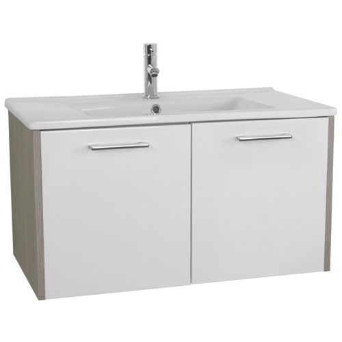 33 Inch White and Larch Canapa Bathroom Vanity Set, Wall Mounted