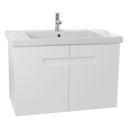 32 Inch PVC Glossy White Bathroom Vanity Set with Inset Handles