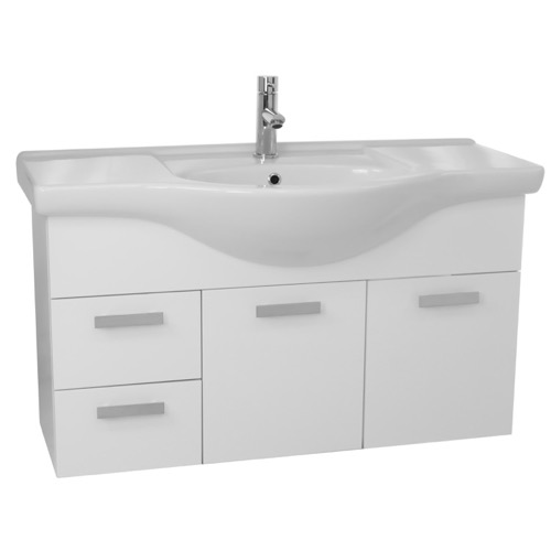 39 Inch Wall Mount Glossy White Bathroom Vanity Set