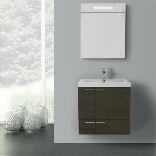 23 Inch Grey Oak Bathroom Vanity with Fitted Ceramic Sink, Wall Mounted, Lighted Medicine Cabinet Included