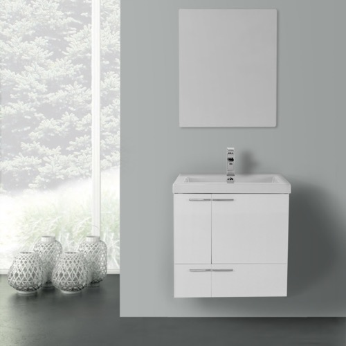 23 Inch Glossy White Bathroom Vanity with Fitted Ceramic Sink, Wall Mounted, Mirror Included