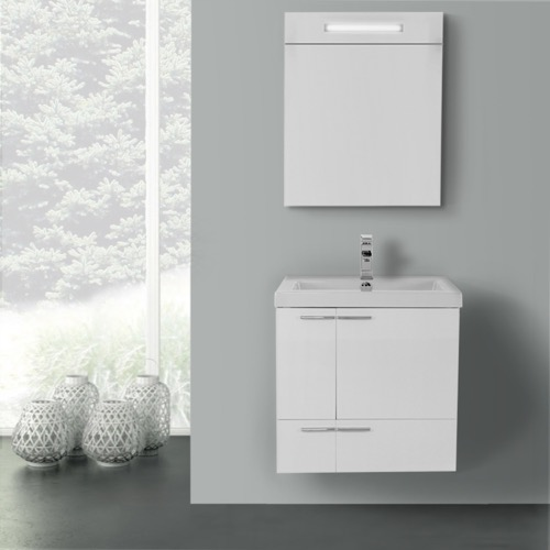 23 Inch Glossy White Bathroom Vanity with Fitted Ceramic Sink, Wall Mounted, Lighted Medicine Cabinet Included