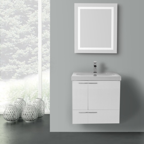 23 Inch Glossy White Bathroom Vanity with Fitted Ceramic Sink, Wall Mounted, Lighted Mirror Included