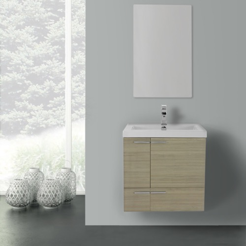 23 Inch Larch Canapa Bathroom Vanity with Fitted Ceramic Sink, Wall Mounted, Mirror Included
