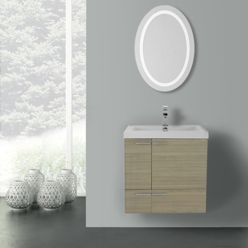 23 Inch Larch Canapa Bathroom Vanity with Fitted Ceramic Sink, Wall Mounted, Lighted Mirror Included