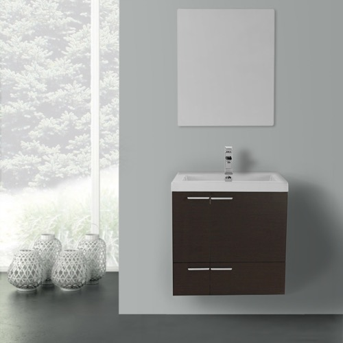 23 Inch Wenge Bathroom Vanity with Fitted Ceramic Sink, Wall Mounted, Mirror Included