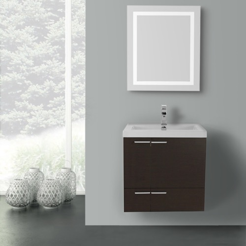 23 Inch Wenge Bathroom Vanity with Fitted Ceramic Sink, Wall Mounted, Lighted Mirror Included