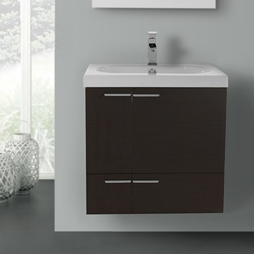 23 Inch Wenge Bathroom Vanity with Fitted Ceramic Sink, Wall Mounted