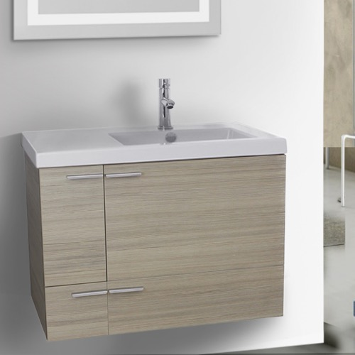 31 Inch Larch Canapa Bathroom Vanity with Fitted Ceramic Sink, Wall Mounted