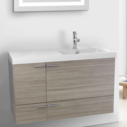 39 Inch Larch Canapa Bathroom Vanity with Fitted Ceramic Sink, Wall Mounted