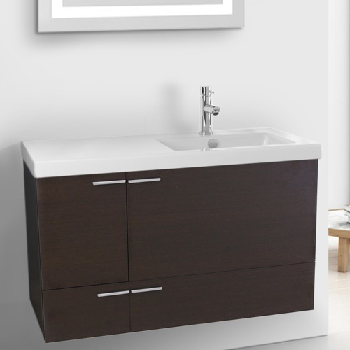 39 Inch Wenge Bathroom Vanity with Fitted Ceramic Sink, Wall Mounted