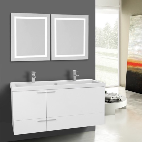 47 Inch Glossy White Bathroom Vanity Set, Double Sink, Lighted Mirrors Included