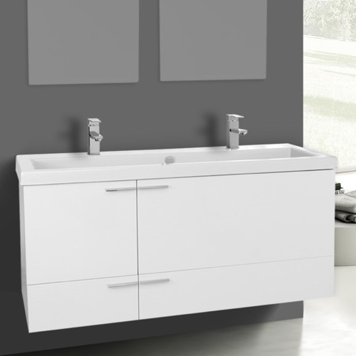 47 Inch Glossy White Bathroom Vanity Set, Double Sink