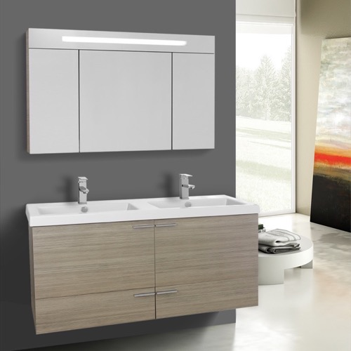 47 Inch Larch Canapa Bathroom Vanity Set, Double Sink, Lighted Medicine Cabinet Included