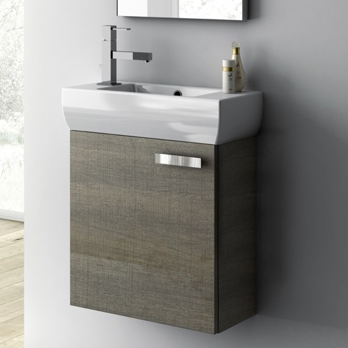 18 Inch Utility Sink With Cabinet : Bathroom Vanity, ACF C13, 18 Inch Vanity Cabinet With Fitted Sink C13