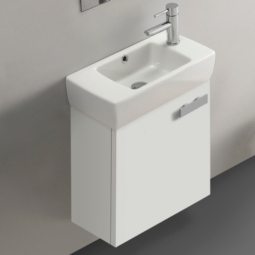 19 Inch Glossy White Wall Mount Bathroom Vanity with Fitted Ceramic Sink