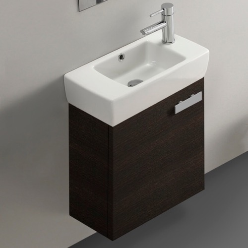 19 Inch Wenge Wall Mount Bathroom Vanity with Fitted Ceramic Sink