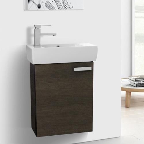 19 Inch Space Saving Grey Oak Bathroom Vanity With Ceramic Sink, Wall  Mounted