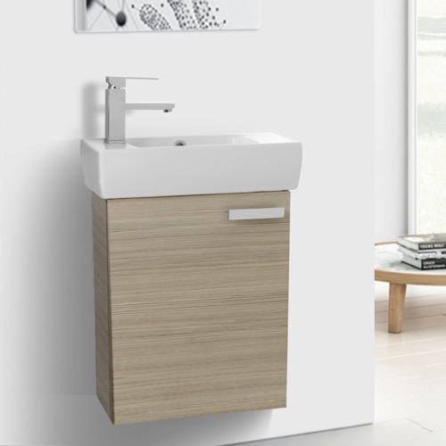19 Inch Space Saving Larch Canapa Bathroom Vanity with Ceramic Sink Wall Mounted & Small Bathroom Vanities - TheBathOutlet.com