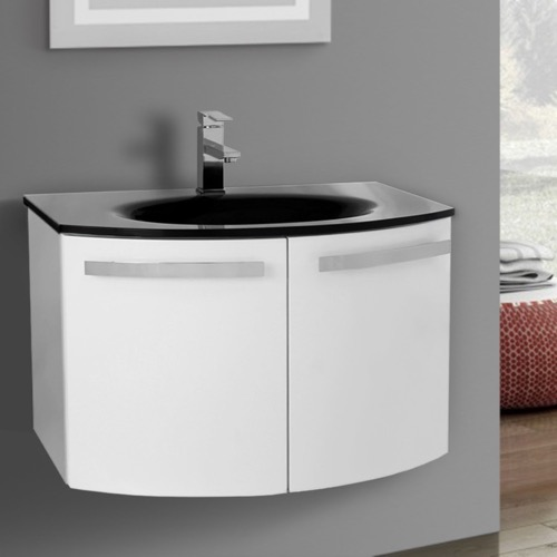 28 Inch Glossy White Bathroom Vanity with Black Glass Top