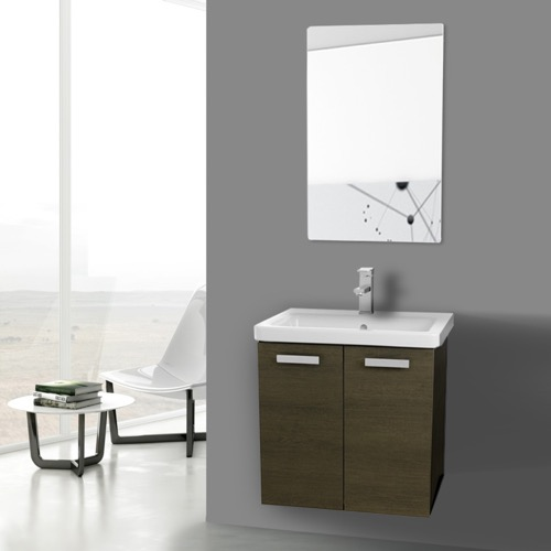 24 Inch Grey Oak Wall Mount Vanity with Fitted Ceramic Sink, Mirror Included