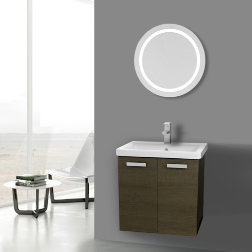 24 Inch Grey Oak Wall Mount Vanity with Fitted Ceramic Sink, Lighted Mirror Included