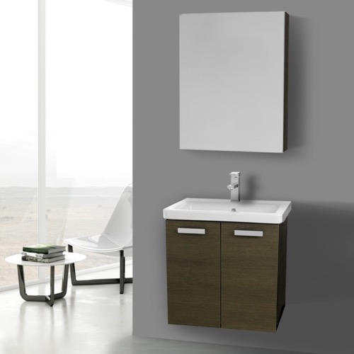24 Inch Grey Oak Wall Mount Vanity with Fitted Ceramic Sink, Medicine Cabinet Included