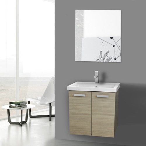 24 Inch Larch Canapa Wall Mount Vanity with Fitted Ceramic Sink, Mirror Included