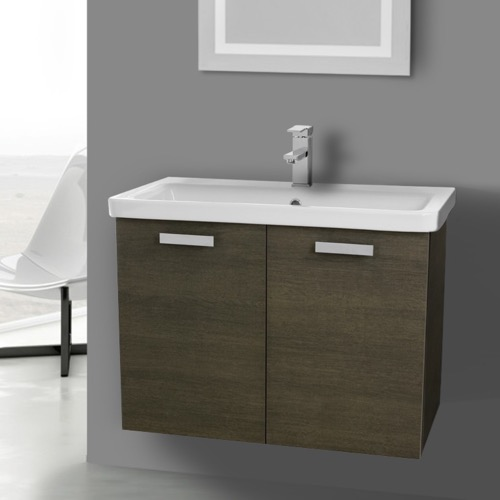 32 Inch Grey Oak Wall Mount Vanity with Fitted Ceramic Sink