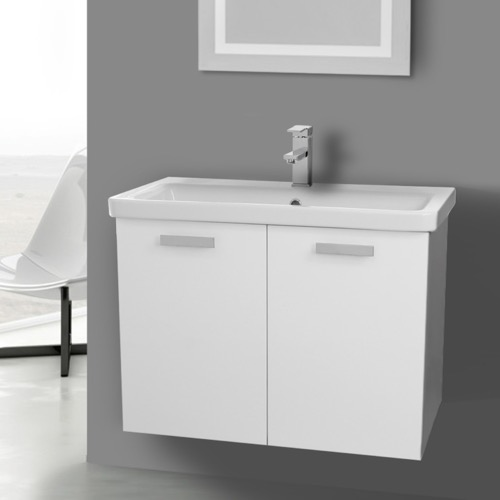 32 Inch Glossy White Wall Mount Vanity with Fitted Ceramic Sink