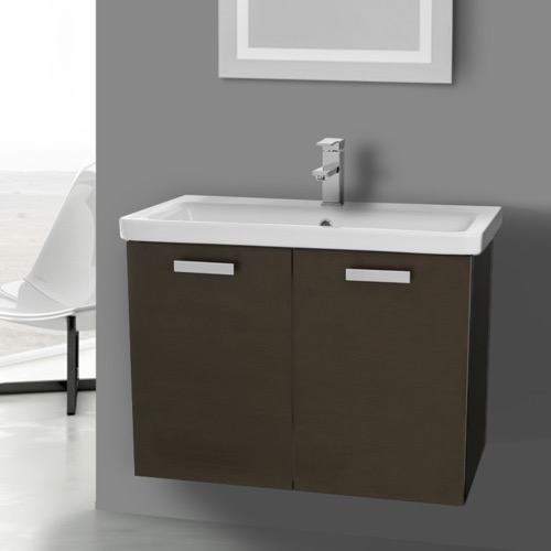 32 Inch Wenge Wall Mount Vanity with Fitted Ceramic Sink