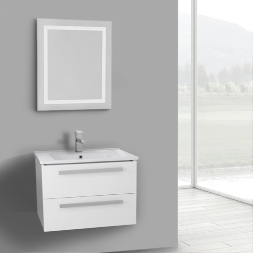 25 Inch Glossy White Wall Mount Bathroom Vanity Set, 2 Drawers, Lighted Mirror Included