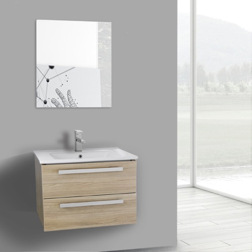 25 Inch Style Oak Wall Mount Bathroom Vanity Set, 2 Drawers, Mirror Included