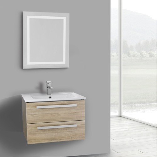 25 Inch Style Oak Wall Mount Bathroom Vanity Set, 2 Drawers, Lighted Mirror Included