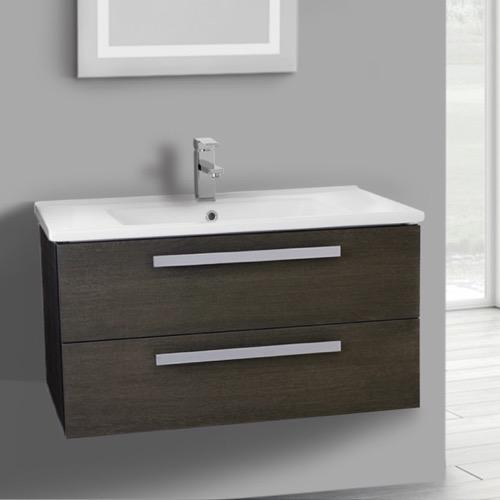 33 Inch Grey Oak Wall Mount Bathroom Vanity Set, 2 Drawers