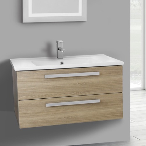 33 Inch Style Oak Wall Mount Bathroom Vanity Set, 2 Drawers