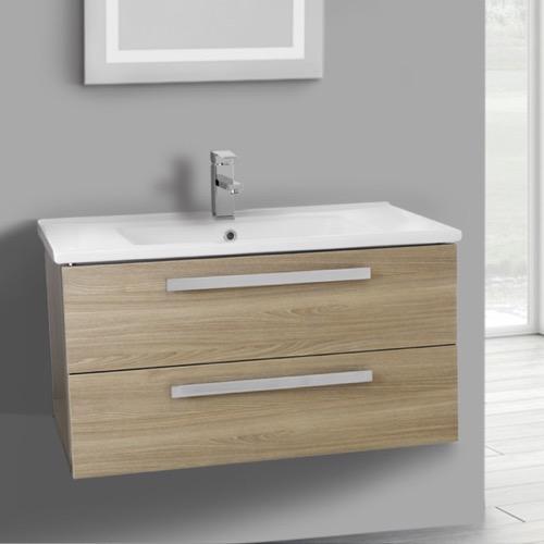 Gentil 33 Inch Style Oak Wall Mount Bathroom Vanity Set, 2 Drawers