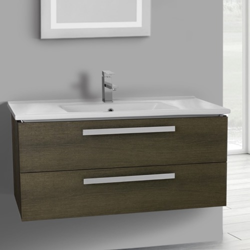 38 Inch Grey Oak Wall Mount Bathroom Vanity Set, 2 Drawers