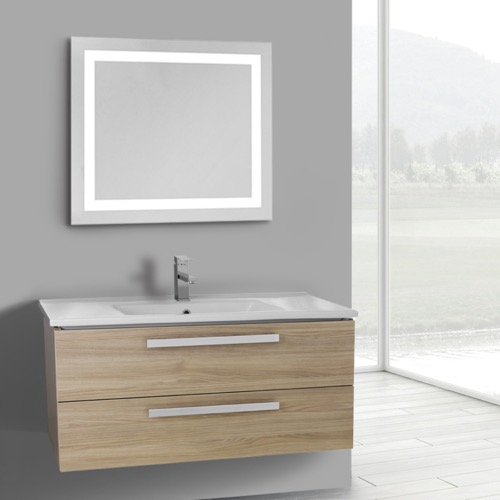 38 Inch Style Oak Wall Mount Bathroom Vanity Set, 2 Drawers, Lighted Mirror Included