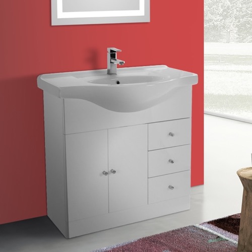 32 Inch Glossy White Floor Standing Bathroom Vanity Set, Curved Sink