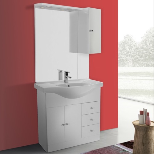 32 Inch Glossy White Floor Standing Bathroom Vanity Set, Curved Sink, Lighted Mirror Included