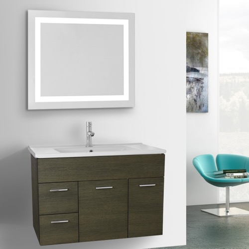 33 Inch Grey Oak Bathroom Vanity Set, Wall Mounted, Lighted Mirror Included