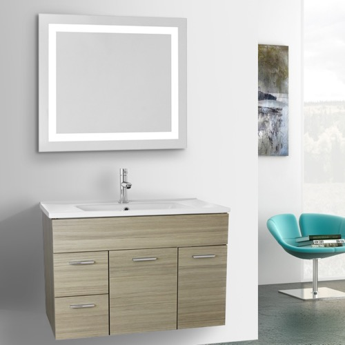 33 Inch Larch Canapa Bathroom Vanity Set, Wall Mounted, Lighted Mirror Included