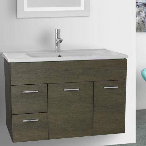 33 Inch Grey Oak Bathroom Vanity Set, Wall Mounted