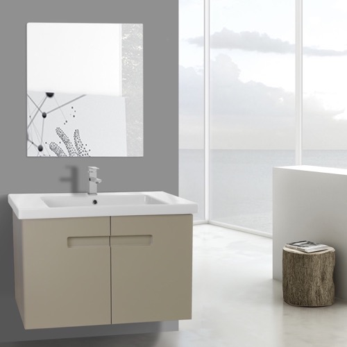 32 Inch PVC Matt Canapa Bathroom Vanity Set with Inset Handles, Mirror Included